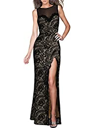 Miusol Women's Sleeveless Long Black Lace Split Side Evening Formal Dress