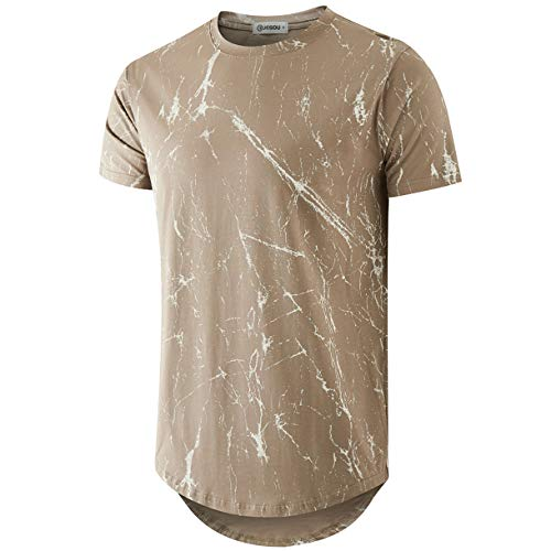 KLIEGOU Mens Hipster Hip Hop Ripped Round Hemline Pattern Print T Shirt (86SH Khaki XXL)