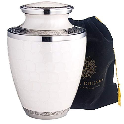 Adera Dreams Adult Cremation Urn for Human Ashes Pearl White Large Funeral Urn for Adult – with Velvet Carry Pouch – Handcrafted Full Size Burial Urn