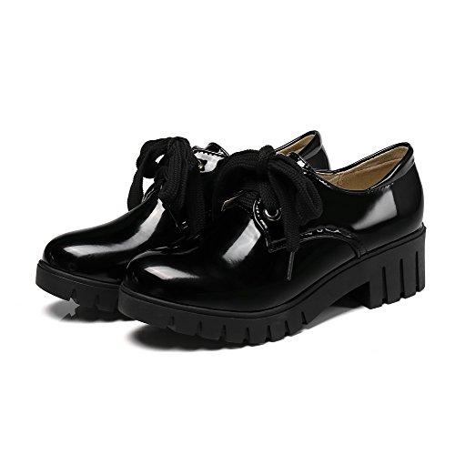 AgooLar Femme Couleur Unie Lacet Super-Fibre Rond Chaussures Légeres Noir 8i8yMW