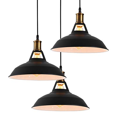 - Homiforce Vintage Style 3 Light Black Pendant Light with Metal Shade in Matte-Black Finish-Modern Industrial Edison Style Hanging for Kitchen Island HMP3006 Close to Ceiling