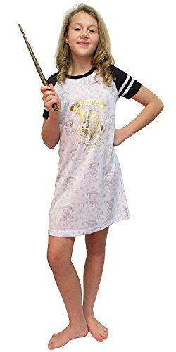 Harry Potter Big Girls' Hermione Granger 'Hogwarts Draco Gold Wizard Crest' Raglan Costume Pajama Nightgown, White, -