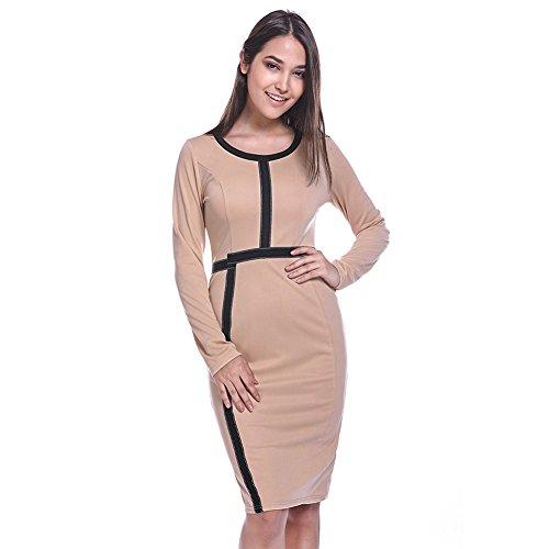 Fancyqube Women's Vintage Color Block Business Slim Bodycon Pencil Dress Apricot XL