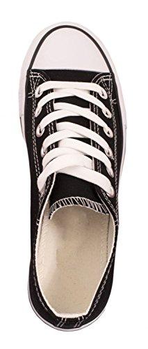 Elara Unisex Sneaker   Bequeme Sportschuhe für Herren und Damen   Low Top Turnschuh Textil Schuhe 36-46 Schwarz -