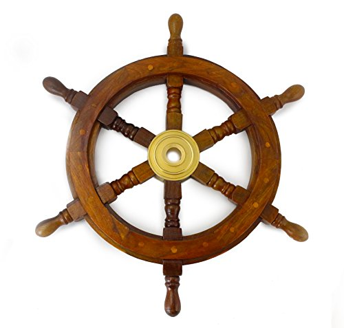 Well Pack Box Wooden Captains Ship Wheel Solid Wood Great Pirate or Nautical Look (18 inch)