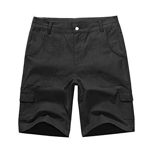 (Women's Relaxed Fit Casual Solid Cargo Bermuda Shorts Black Sizs 10)
