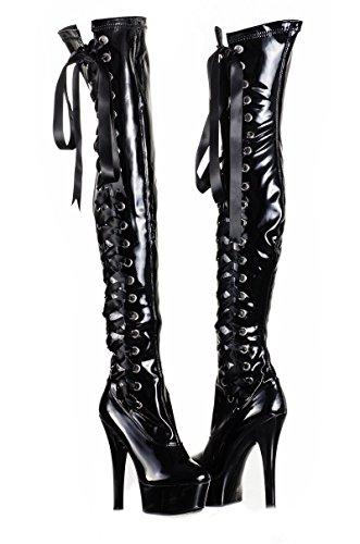 Amazinggirl High Heels Stiefel Overknees Lack Plateau Latex PVC Overkneestiefel schwarz 36 37 38 39 40 Pvc Heels