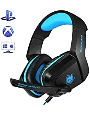 Gaming Headset for Headphone Noise Cancelling Over Ear Headphones with Mic LED Light Bass Surround for PS4 PC Xbox One Controller, PHOINIKAS H-1 Computer Gaming Headsets