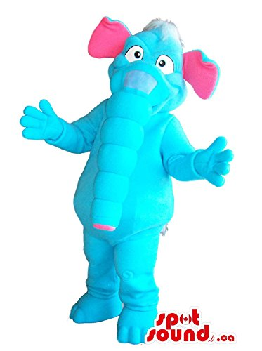 Flashy Blue Elephant Plush Mascot SpotSound US With Pink Ears And A Long Trunk