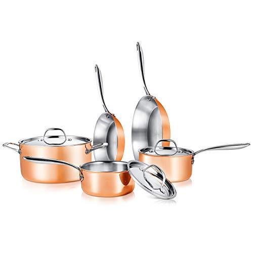 NutriChef 8 Pcs. Stainless Steel Kitchenware Pots & Pans Set Stylish Kitchen Cookware w/Cast SS Handle, Tri-Ply…