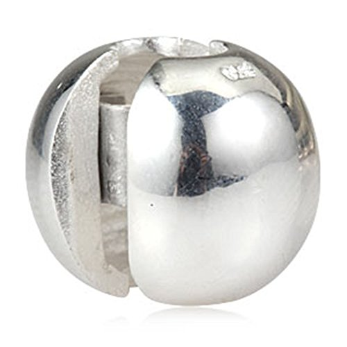 - Round Stopper Charm 925 Sterling Silver Clip Charm Lock Stopper Charm Spacer Charm for Pandora Charms Bracelet (Silver)