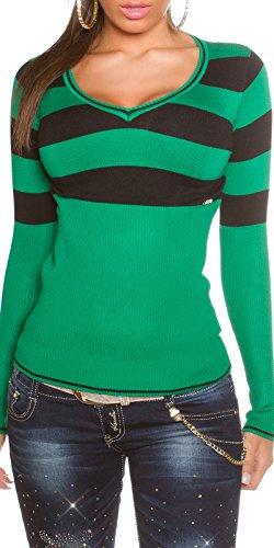 Damen Pullover Pulli Sweatshirt Sweater mit V-Ausschnitt gestreifft 34 36 38 40 *Farbe Grün