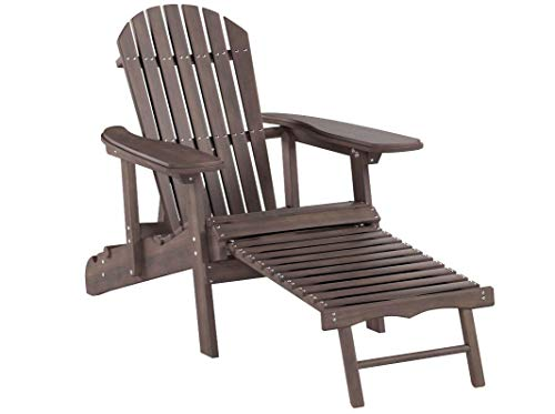 Coral Coast Grand Daddy Oversized Adirondack Chair with Pull out Ottoman Dark Brown