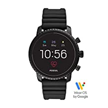 Fossil Men's Gen 4 Explorist HR Heart Rate Stainless Steel and Silicone Touchscreen Smartwatch, Color: Black (Model: FTW4018)