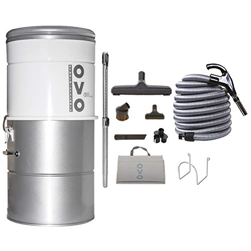 OVO PAK63D-35 Vacuum System-Heavy Duty Central Vac with Hybrid Filtration-25L or 6.6Gal-630 Airwatts Power Unit, 35ft Deluxe Switch Control Attachment Accessory Kit Included, 35ft, Sliver