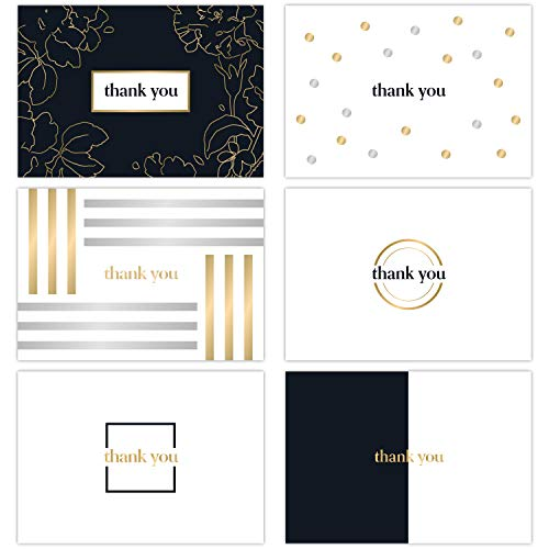 SLICE OF GOODNESS 36PK Elegance Thank You Cards - 6 Designs With 36 Black Envelopes Included - Great For Writing Heartfelt Thank You Notes For Any Occasion (Elegance Cards)