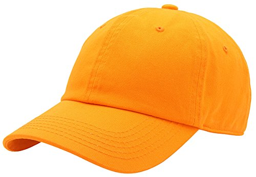 AZTRONA Baseball Cap for Men Women - 100% Cotton Classic Dad Hat, Org (Orange Fitted Cap)