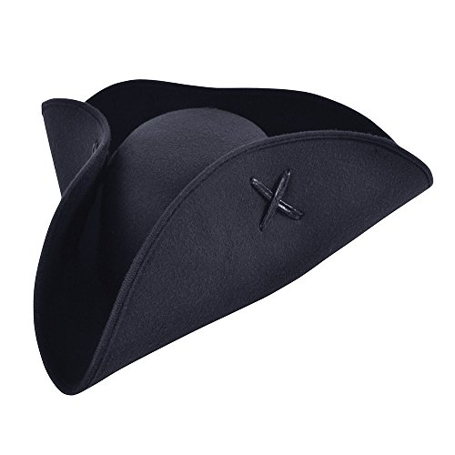 Bristol Novelty BH653 Pirate Tricorn Hat black Wool Felt, One Size ()