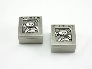 Skyway Keepsake My First Curl and Tooth Box Set Teddy Bear Pewter Silver - Engravable