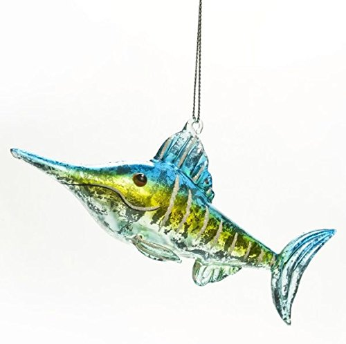 Glass Jeweled Swordfish Hanging Christmas Tree Ornament