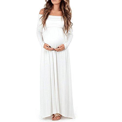 Tonsee Damen Lange Kleider Mutterschutz Schwangere Einfarbig Kleid ...