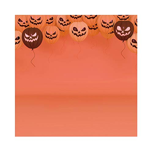 Laeacco All Saint's Day Background 5x5ft Grimace Pumpkin Polyester Photography Backdrop Abstract Pumpkin Balloon Black White Halloween Costume Party Carnival Holiday Baby Kids Portrait Shoot -