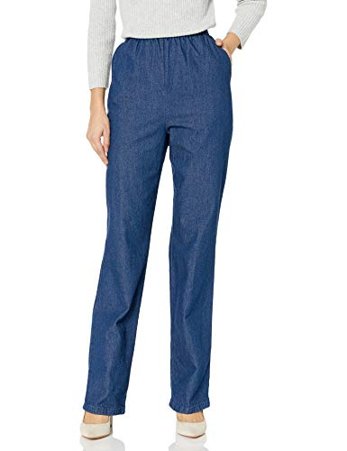 Chic Classic Collection Women#039s Petite Cotton PullOn Pant with Elastic Waist Original Stonewash Denim 16P