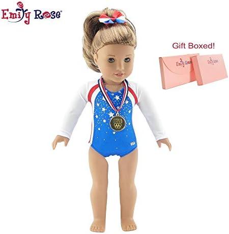 [해외]Emily Rose 45.72cm 인형 옷 | 팀 USA 3 피스 체조 세트 보석 레오타드 리본 달린 헤어밴드 사실적인 올림픽 골드 메달을 포함합니다 | 미국 소녀 인형에 맞음 | 선물 박스 / Emily Rose 18 Inch Doll Clothes | Team USA 3 Piece Gymnastics Set, I...