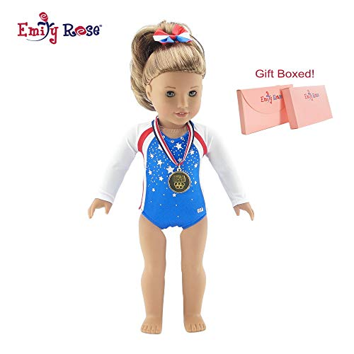 Emily Rose 18 Inch Doll Clothes   Team USA 3 Piece Gymnastics Set, Including Realistic Olympic Gold Medal!   Perfect Halloween Costume!   Fits American Girl Dolls   Gift Boxed!