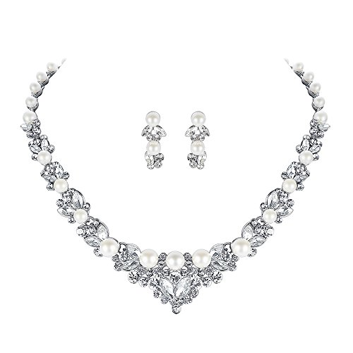 mecresh Simulated Pearl Crystal Bridal Necklace Earrings ()