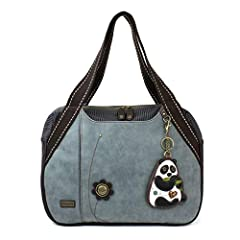 Roomy, Convenient, Comfortable Comes with a detachable Panda Key Fob/Coin Purse Front flower button detail Front and Back Snap Closure Striped Pockets Front Zipper pocket for phones, keys, and other accessories! Top Zipper Closure Inner slide...