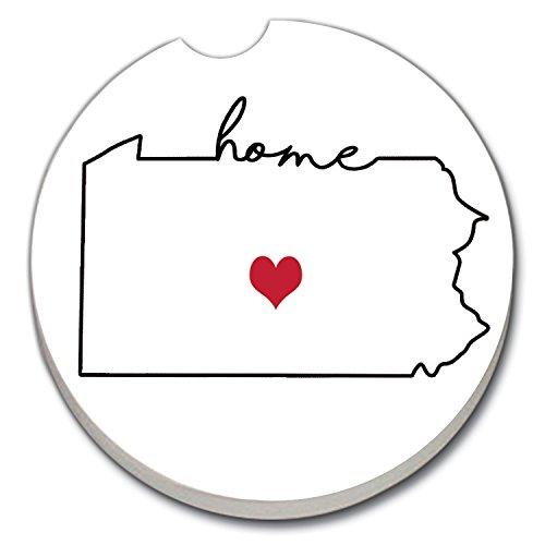 CounterArt Absorbent Stoneware Car Coaster, Love Pennsylvania-Home