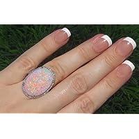 Ransopakul Large 925 Silver Fire Opal Gemstone Ring Wedding Engagement Women Jewelry (10)