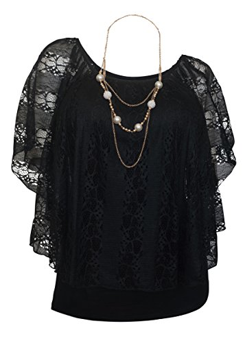 EVogues Plus Size Lined Sheer Lace Poncho Top Black - 2X