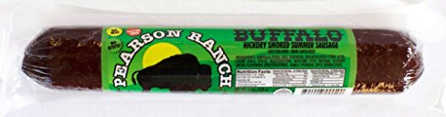 Pearson Ranch BISON (BUFFALO) Wild Game Summer Sausage, Hickory Smoked - Grass Fed, Farm Raised, No Nitrates, Hormone Free (6 Oz) (Single) Grass Fed Bison