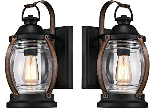 Westinghouse Canyon One-Light Outdoor Wall Fixture, Textured Black and Barnwood Finish with Clear Glass (Canyon Wall Lantern 2 Pack)