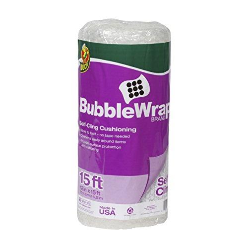 Duck Brand Self-Cling Bubble Wrap Cushioning, 12 Inches x 15 Feet, Clear (280055)