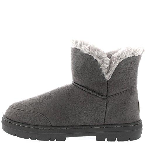 Holly Mujer Mini Botón Forrada de Piel Zapato Invierno Nieve Lluvia Botas Gris