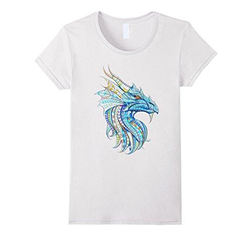 Womens Cute Unique Trendy & Modern Dragon Art T-Shirt & Gift | CUAI Small White (White Dragon Shirt)