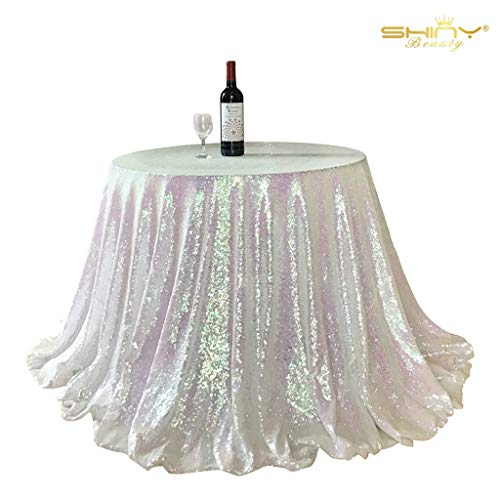 ShiDianYi Iridescent White Sequins Table Cloth 108Inch Round Sparkly Drape Tablecloth Multicolor White Elegant Table Linens ~190515S (White Round 108 Inch Tablecloth)