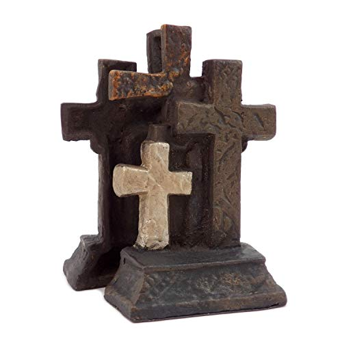 Bey-Berk R10Z Cast Metal Cross Bookends with Bronzed Finish, Brown