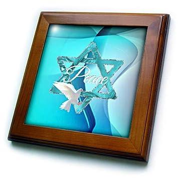 3dRose ft/_3228/_1 Open Water Sharks Framed Tile 8 by 8-Inch