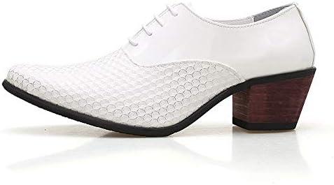 ファッションオックスフォードエレベーターの靴男性用マイクロファイバーレザーメッシュビジネスウェディングデートローファー滑り止めレースアップブロックヒールラウンドトゥヘッドレザーソフト滑り止め