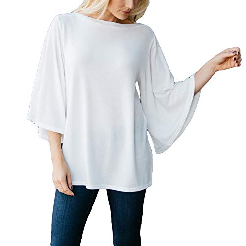 Amaryllis Apparel Women's White Boatneck Flutter Sleeve Top | 65% Polyester / 35% Cotton