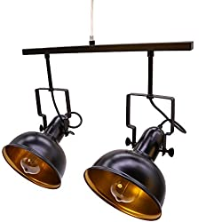 "Vintage Matte Black Spotlight, Motent Industrial Adjustable Double Head Metal Dome Shaped Ceiling Lamp Flush Mounted 7"" Dia Retro Round Track Lighting Fixture for Kitchen Clothing Store Loft - 2-light"