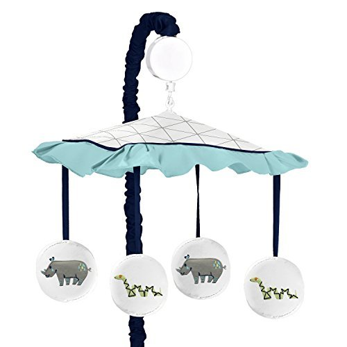 Sweet Jojo Designs Turquoise and Navy Blue Safari Animal Musical Baby Crib Mobile for Mod Jungle Collection by