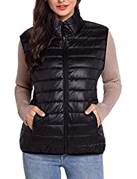 Kwiten Womens Light Sleeveless Down Gilet Winter Puffer Vest