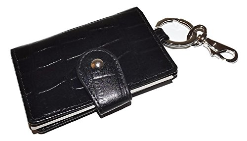 (Italia Leather Croc-embossed Valet Key Case with Interior ID Slot Black)