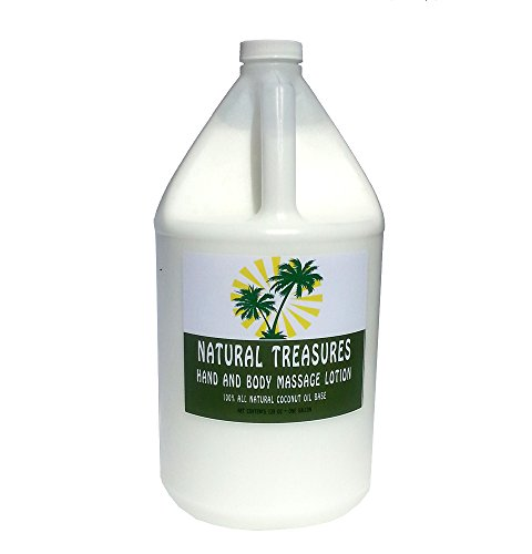 Natural Unscented Massage Oil (128oz - One Gallon Hand and Body Massage Lotion From Natural Treasures. Our Most Affordable Massage Lotion with a Coconut. Oil Base. (Unscented))