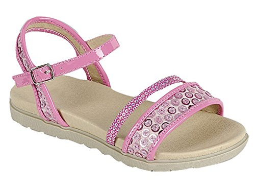 Best Seller Aisha Pink Round Toe Flat Embellished Sequin Sandal Low Heel Cut Out Open Toe Slip On Easter Roman Ankle Side Strap Buckle Soft Colorful Prime Shoe for Sale Big Girl Youth (Size 4, (Big Buckle Sandals)